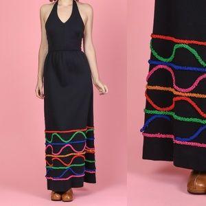 Vintage 70s Halter Black Maxi Dress Ruffle Trim